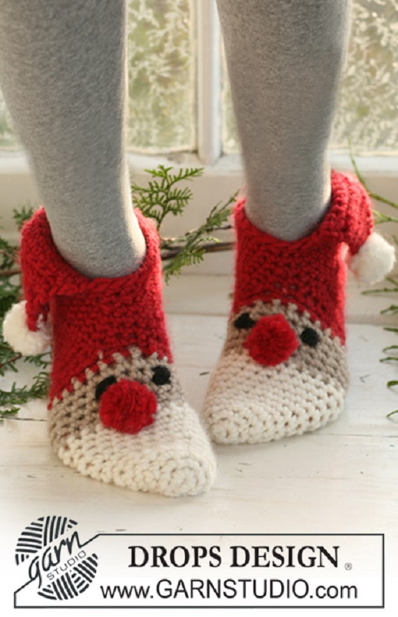 Crochet Christmas slippers Free Pattern - Crochet Santa Clause Free Patterns