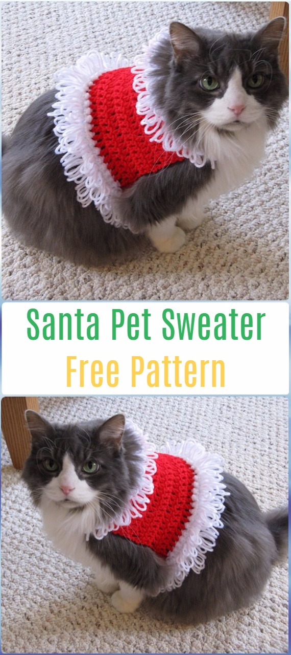 Crochet Santa Pet Sweater Free Pattern - Crochet Santa Clause Free Patterns