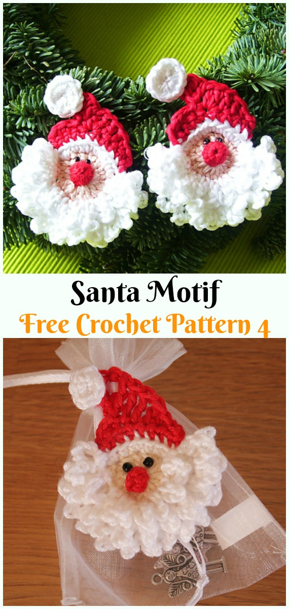 Santa Motif Crochet Free Pattern - #Crochet;  #Santa Clause Free Patterns