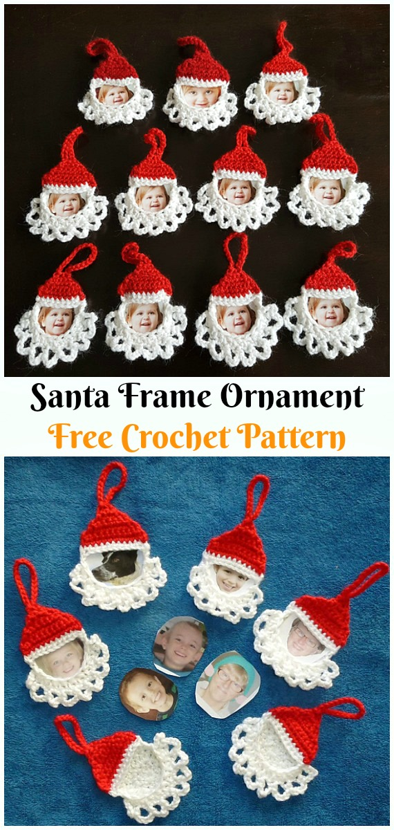 Santa Frame Ornament Crochet Free Pattern - #Crochet;  #Santa Clause Free Patterns