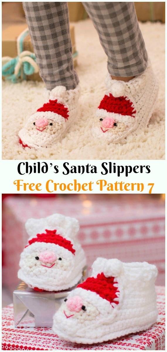 Child's Santa SlippersCrochet Free Pattern - #Crochet; #Santa Clause Free Patterns