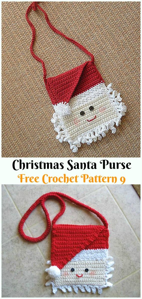 Santa PurseCrochet Free Pattern - #Crochet; #Santa Clause Free Patterns