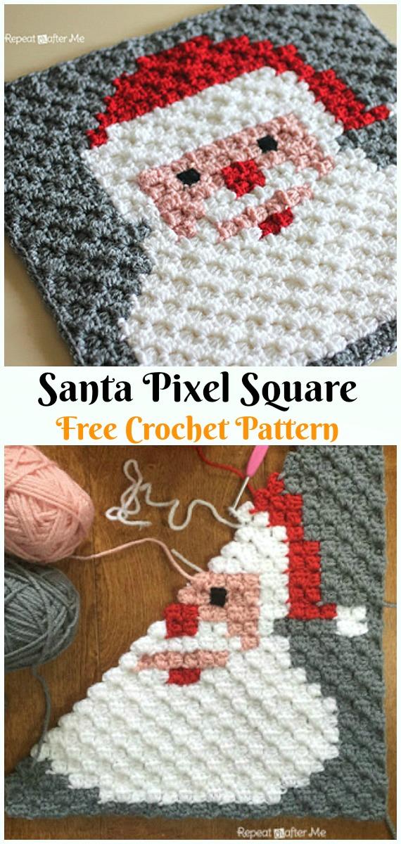 Santa Pixel Square Crochet Free Pattern - #Crochet; #Santa Clause Free Patterns