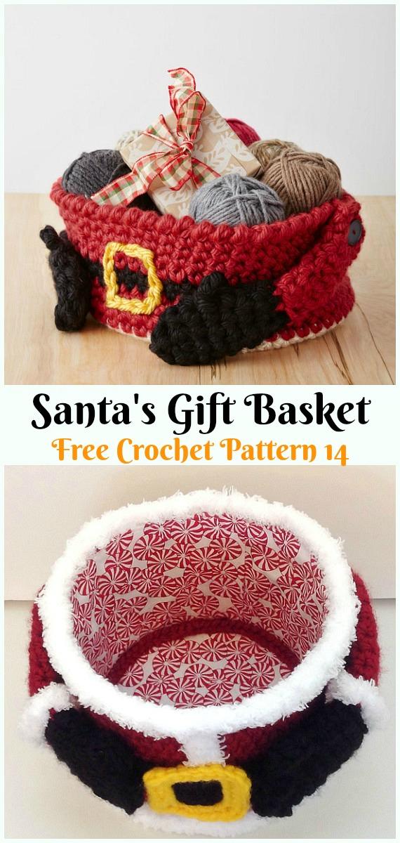 Santa's Gift BasketCrochet Free Pattern - #Crochet; #Santa Clause Free Patterns