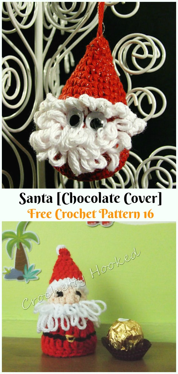 Santa [Chocolate Cover] DecorationCrochet Free Pattern - #Crochet; #Santa Clause Free Patterns