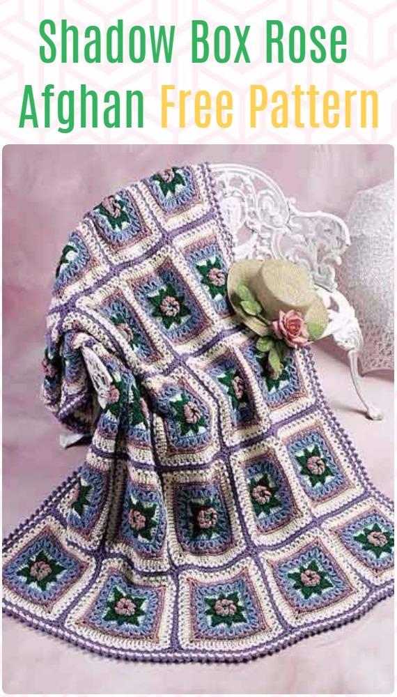 Crochet Shadow Box Rose Afghan Free Pattern