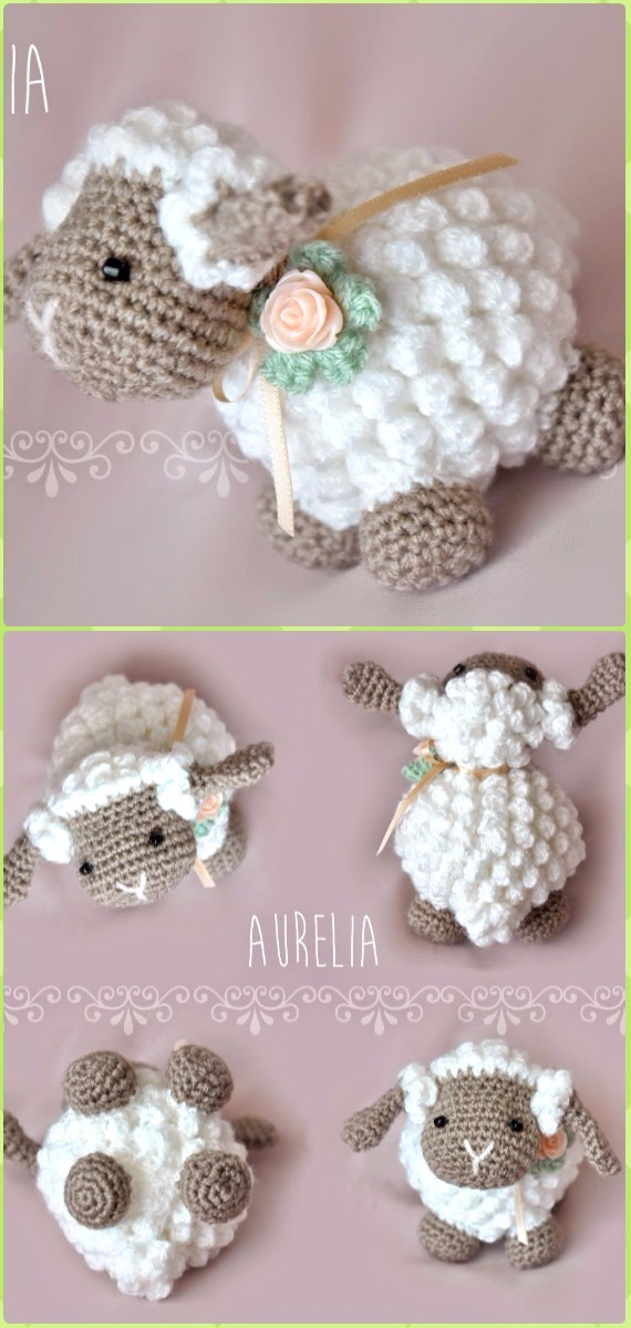 Crochet Popcorn Sheep Amigurumi Free Pattern Video - Crochet Sheep Free Patterns
