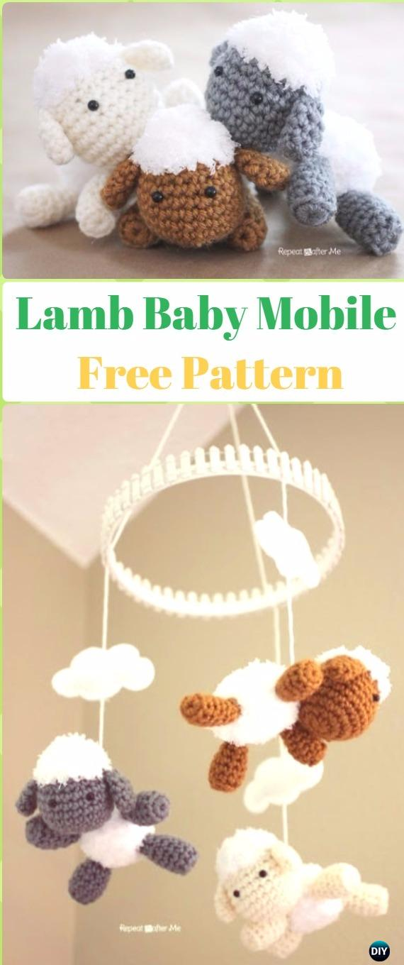 Amigurumi Lamb Baby Mobile Free Pattern - Crochet Sheep Free Patterns