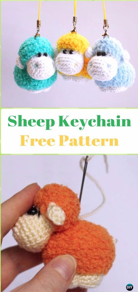Amigurumi Sheep Keychain Free Pattern - Crochet Sheep Free Patterns