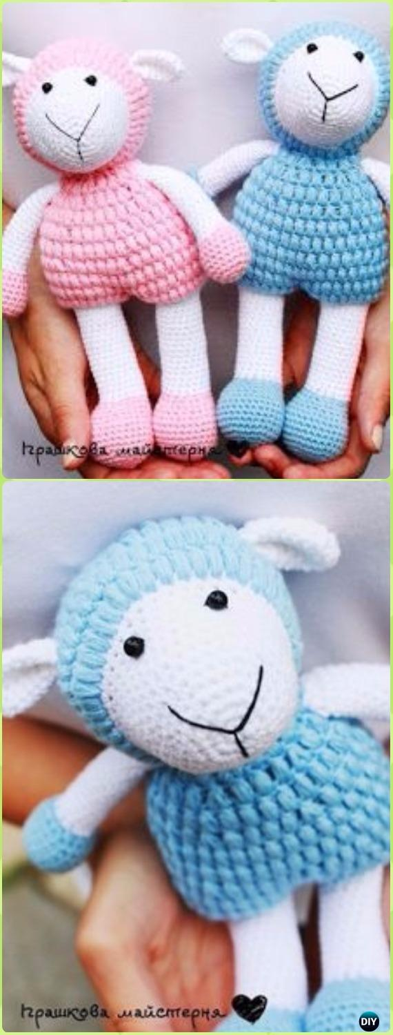 Crochet Puff Stitch Lamb Sheep Toy Amigurumi Free Pattern - Crochet Sheep Free Patterns