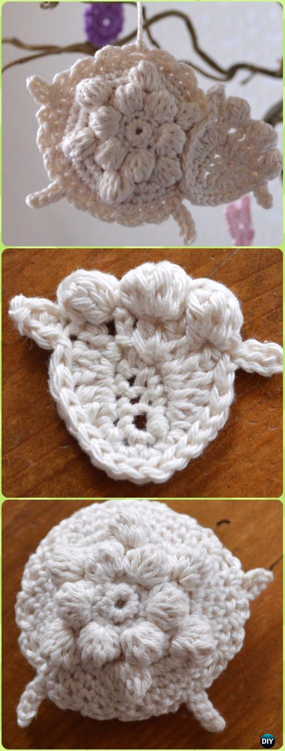 Crochet Bobble Flower Lamb Sheep Ornament Free Pattern - Crochet Sheep Free Patterns
