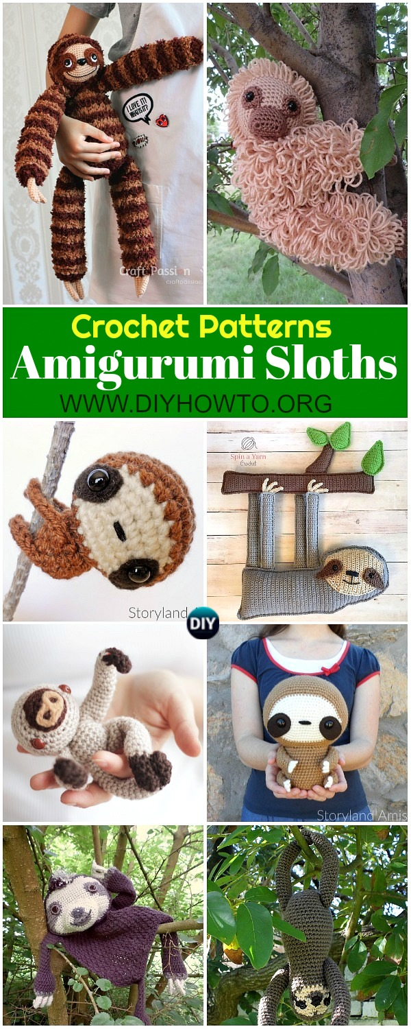 Collection of Amigurumi Crochet Sloth Toy Softies Patterns Free & Paid: crochet baby sloth, crochet finger sloth, cuddle size sloth, sloth amigurumi toys and blankets