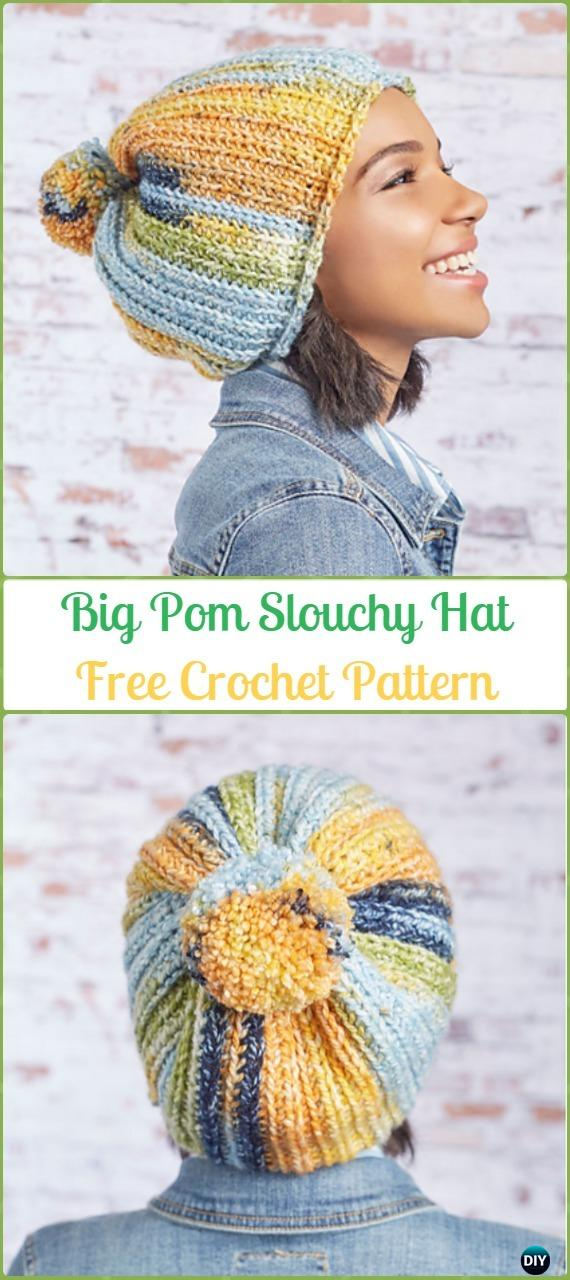 Crochet Big Pom Slouchy Hat Free Patterns -Crochet Slouchy Beanie Hat Free Patterns