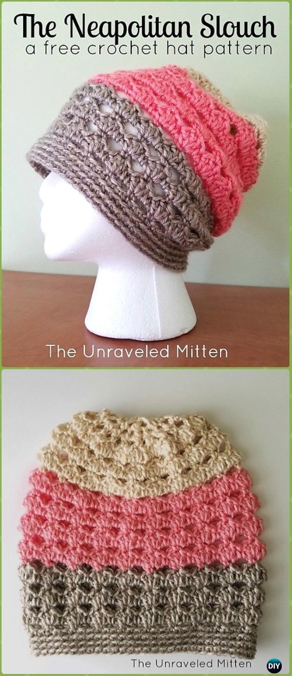 Crochet Neapolitan Eyelet Slouchy Hat Free Patterns -Crochet Slouchy Beanie Hat Free Patterns