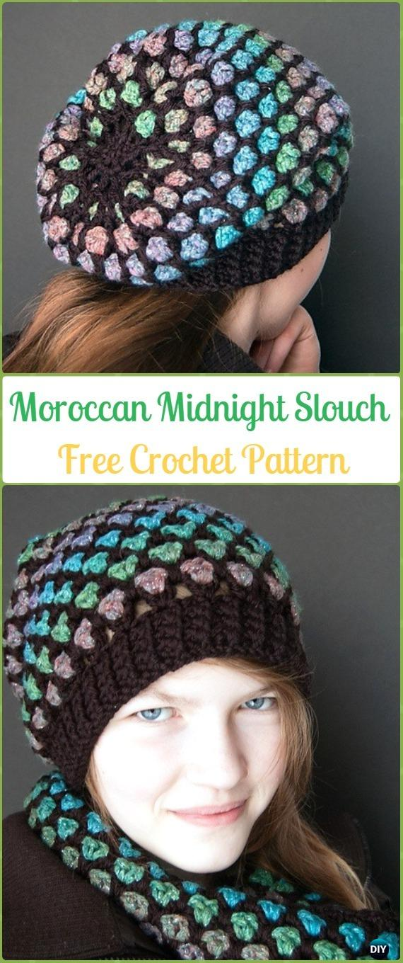 Crochet Moroccan Midnight Slouch Hat Free Patterns -Crochet Slouchy Beanie Hat Free Patterns