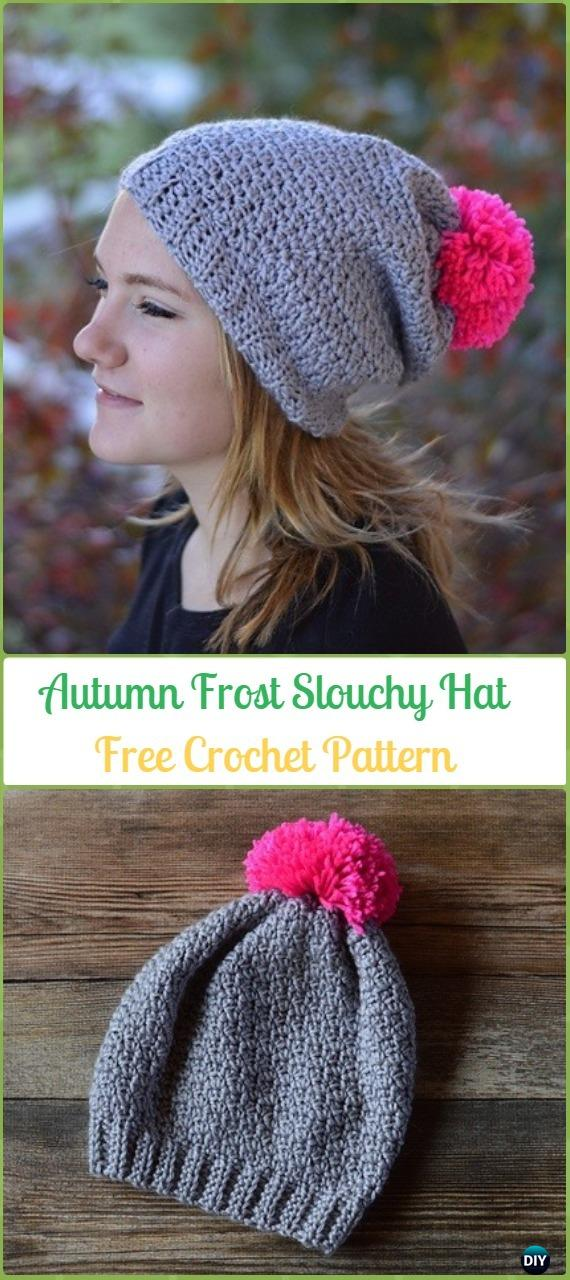 Crochet Autumn Frost Slouchy Hat Free Patterns -Crochet Slouchy Beanie Hat Free Patterns