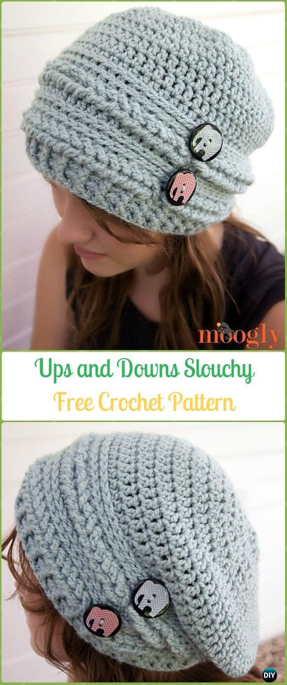 Crochet Ups and Downs Slouchy Beanie Free Patterns -Crochet Slouchy Beanie Hat Free Patterns