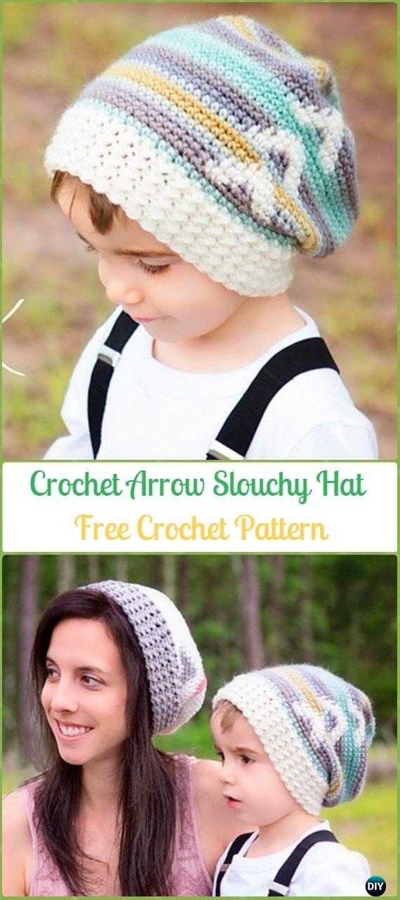 Crochet Arrow Slouchy Hat Free Patterns -Crochet Slouchy Beanie Hat Free Patterns