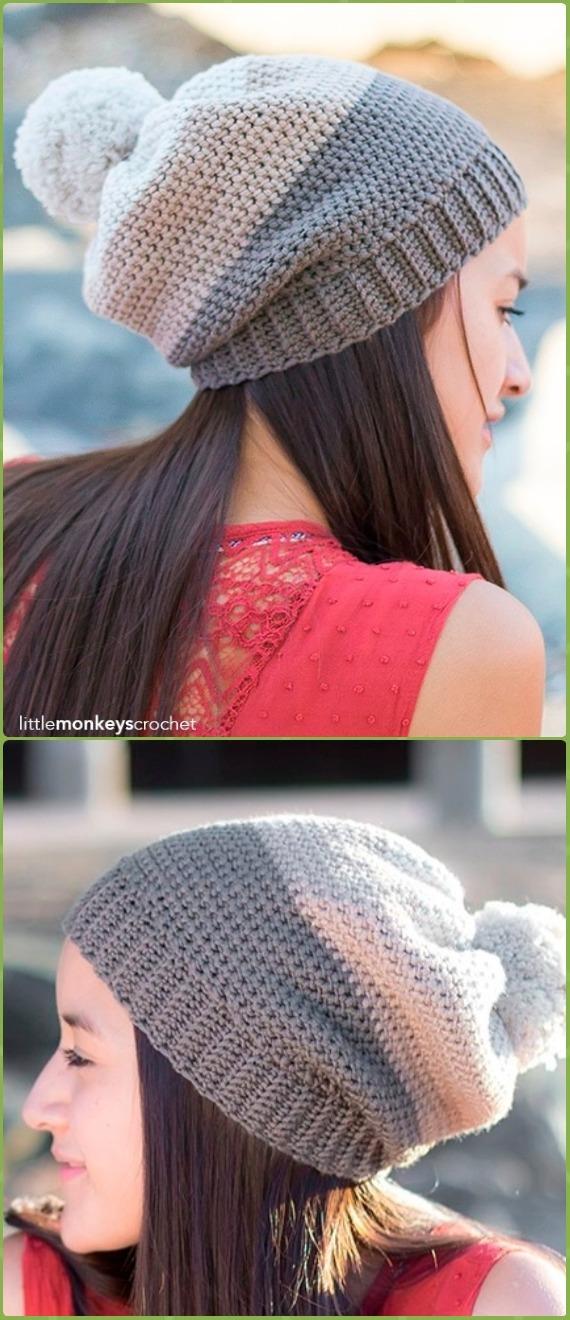 Crochet Carlyle Slouch HatFree Patterns -Crochet Slouchy Beanie Hat Free Patterns