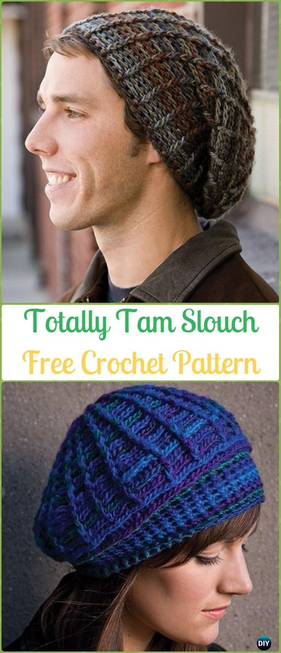 Crochet Totally Tam Slouch & Beanie Hat Free Pattern -Crochet Slouchy Beanie Hat Free Patterns
