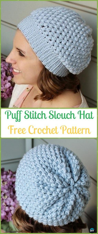 Crochet Puff Stitch Slouchy Beanie Hat Free Pattern -Crochet Slouchy Beanie Hat Free Patterns