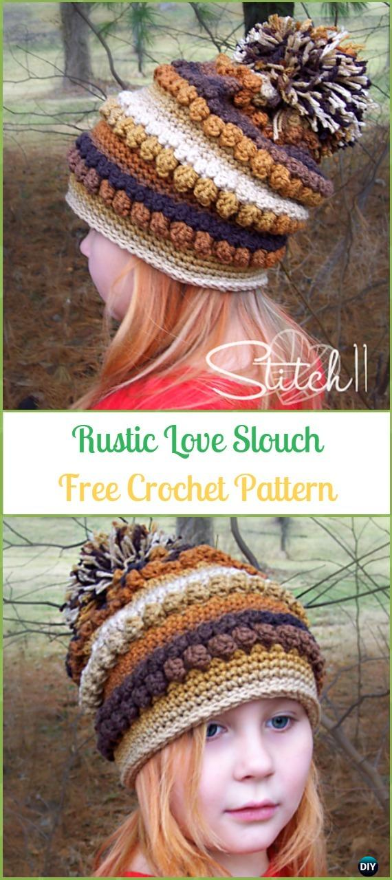 Crochet Rustic Love Slouch Hat Free Pattern -Crochet Slouchy Beanie Hat Free Patterns