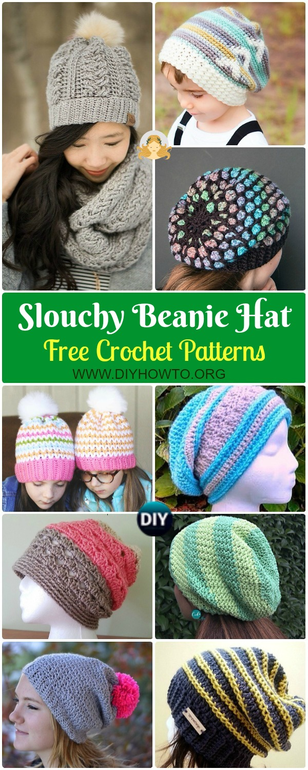 Collection of Crochet Slouchy Beanie Hat Free Patterns Tutorials: Solid, Stripy, Cable Slouch Hat for kids, women and men, Winter hat, spring hat and more