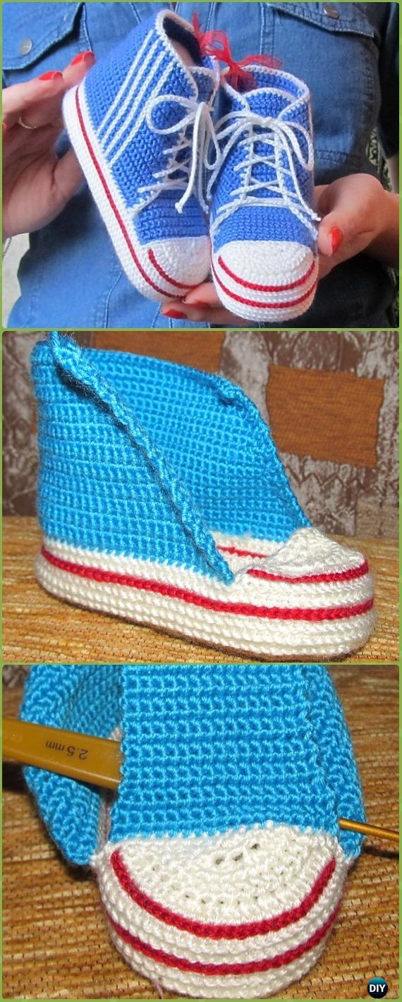 Crochet High Top Baby Sneakers Free Pattern - Crochet Sneaker Slippers Free Patterns