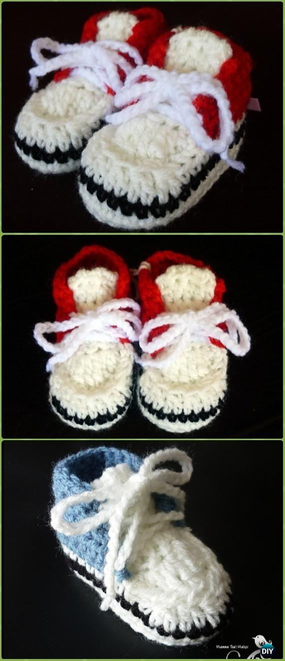 Crochet Newborn Baby Sneakers Free Pattern - Crochet Sneaker Slippers Free Patterns