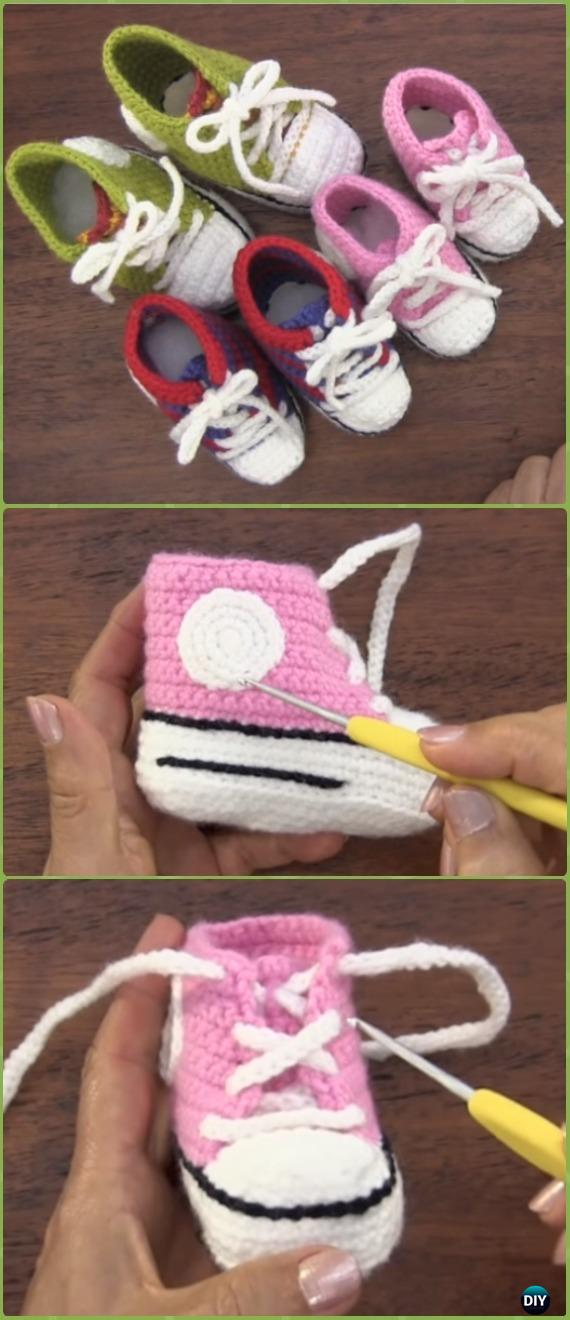 Crochet Infant Baby Sneakers Free Pattern Video - Crochet Sneaker Slippers Free Patterns