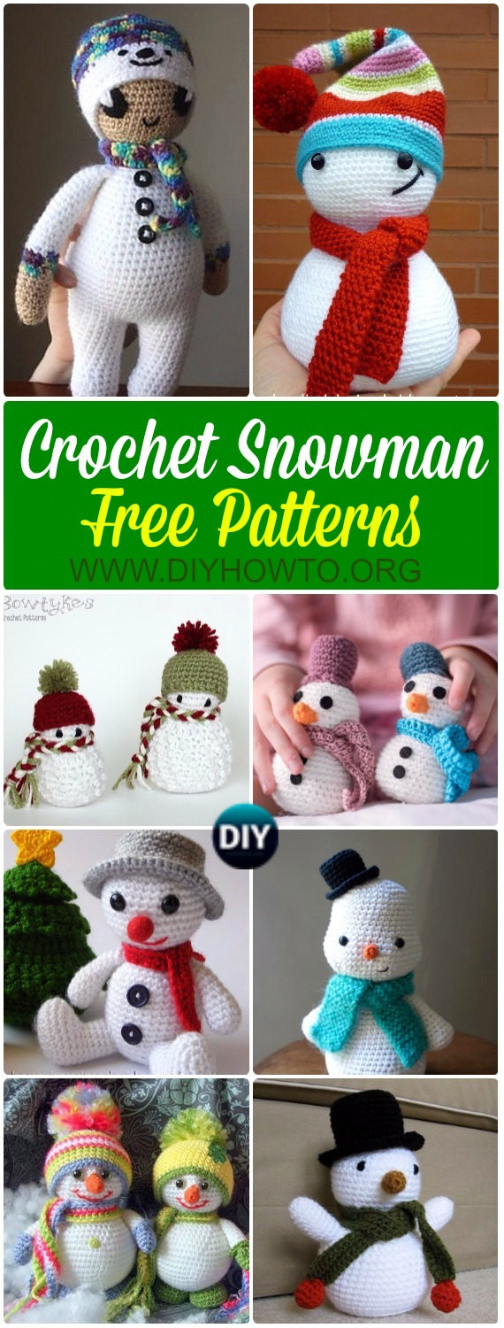 Collection of Crochet Snowman Softies Toys Free Patterns: Crochet Christmas snowman gifts, toys, softies, plush, ornaments for kids