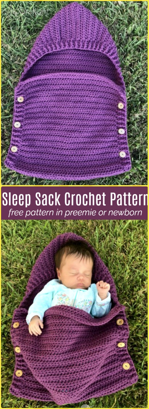 Crochet Easy Newborn Sleep Sack Free Pattern - Crochet Snuggle Sack & Cocoon Free Patterns