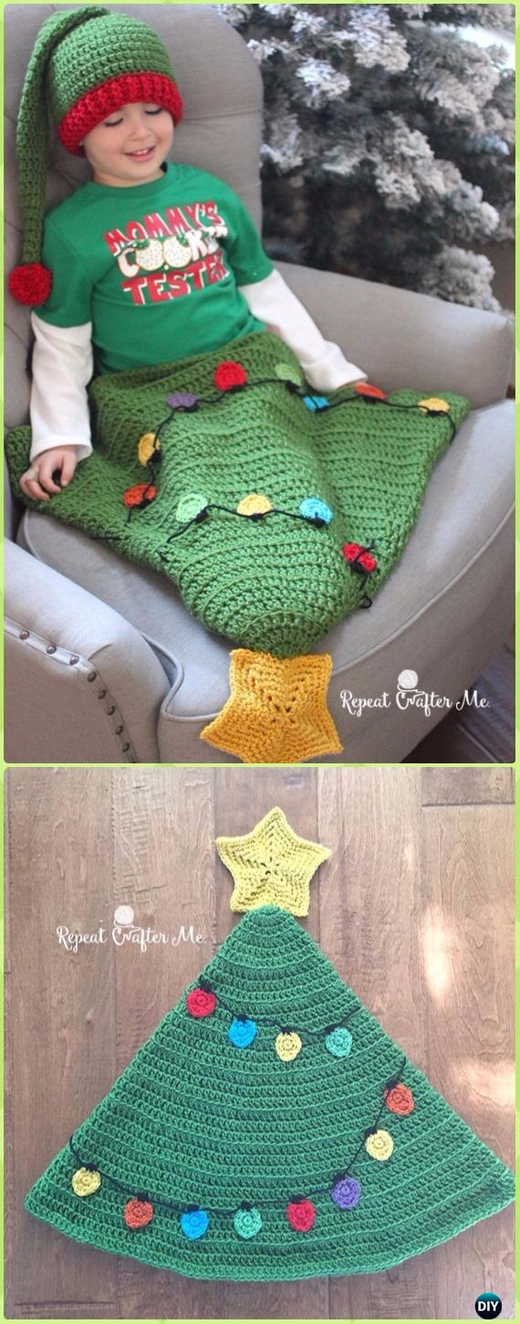 Crochet Christmas Tree Tail Blanket Sack Free Pattern - Crochet Snuggle Sack & Cocoon Free Patterns