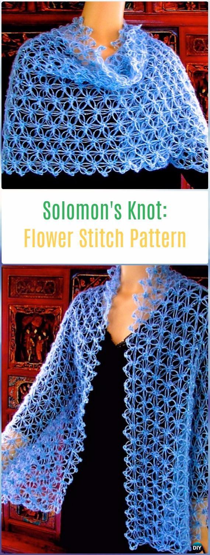 Crochet Solomon's Knot Flower Stitch Free Pattern - Crochet Solomon Knot Stitch and Variations