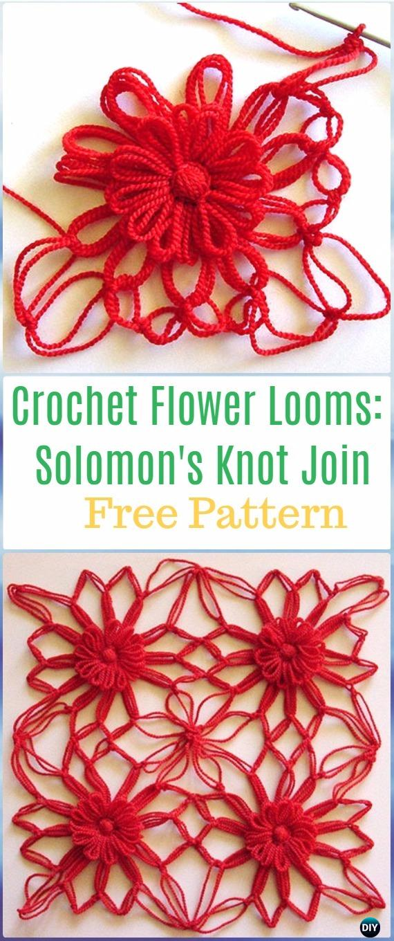 Crochet Flower Looms Solomon's Knot Join Free Pattern - Crochet Solomon Knot Stitch and Variations