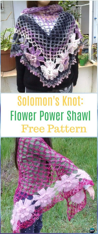 Crochet Solomon's Knot Flower Power Shawl Free Pattern - Crochet Solomon Knot Stitch and Variations