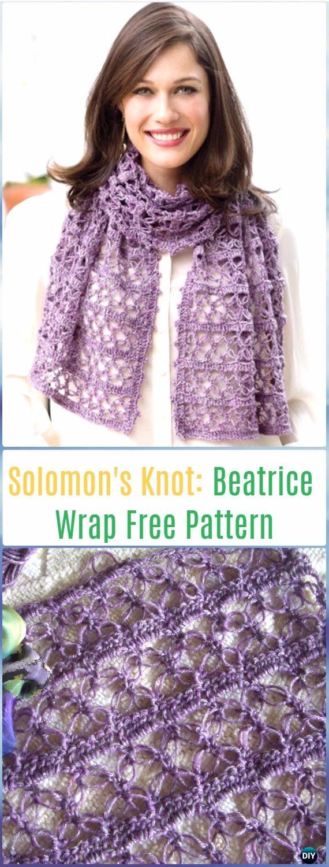 Crochet Solomon's Knot Beatrice Wrap Free Pattern - Crochet Solomon Knot Stitch and Variations