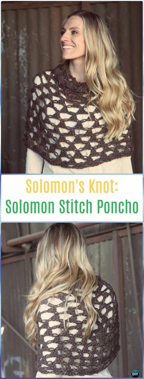 Crochet Solomon Stitch Poncho Pattern - Crochet Solomon Knot Stitch and Variations