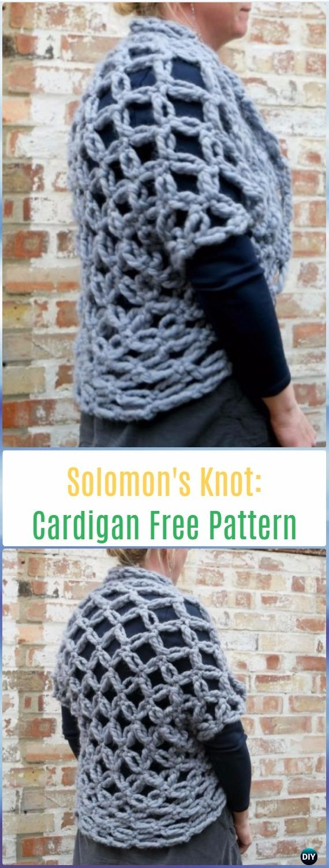 Easy Crochet Solomon's Knot Cardigan Free Pattern - Crochet Solomon Knot Stitch and Variations