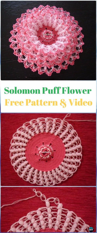 Crochet Puff Solomon's Knot Stitch Flower Washcloth Free Pattern Video- Crochet Solomon Knot Stitch and Variations