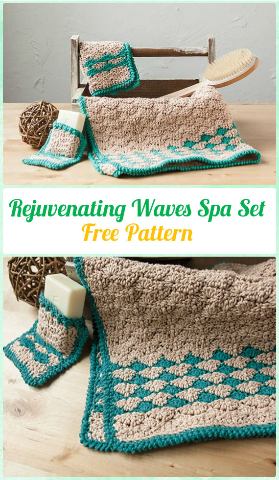 Crochet Rejuvenating Waves Spa Set Free Pattern u2013 Crochet Spa Gift Ideas Free Patterns & Crochet Rejuvenating Waves Spa Set Free Pattern - Crochet Spa Gift ...