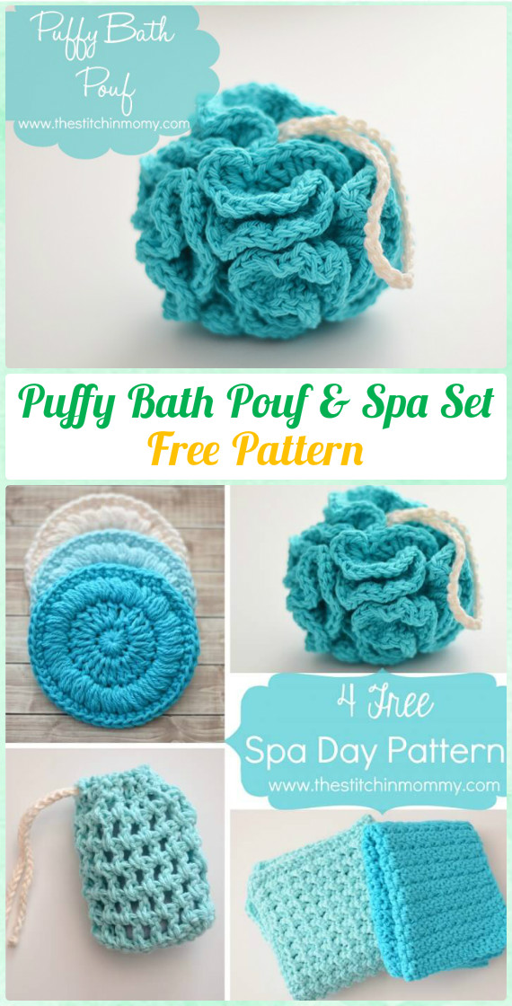 Crochet Puffy Bath Pouf & Spa Set Free Pattern - Crochet Spa Gift Ideas Free Patterns