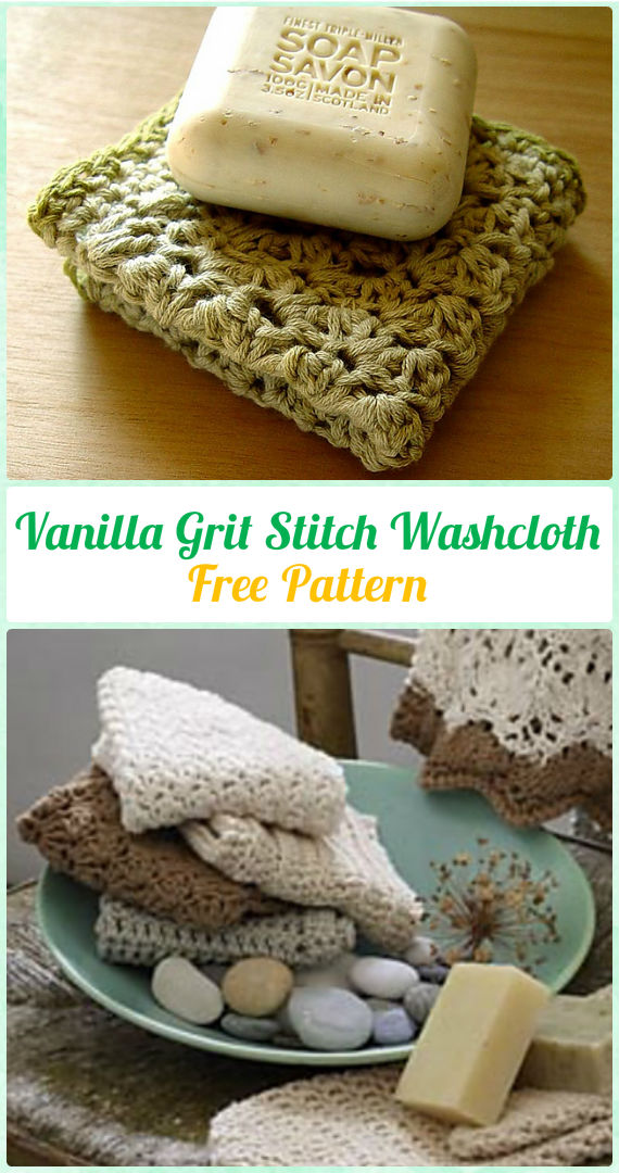 Crochet Vanilla Grit Stitch Washcloth Free Pattern - Crochet Spa Gift Ideas Free Patterns