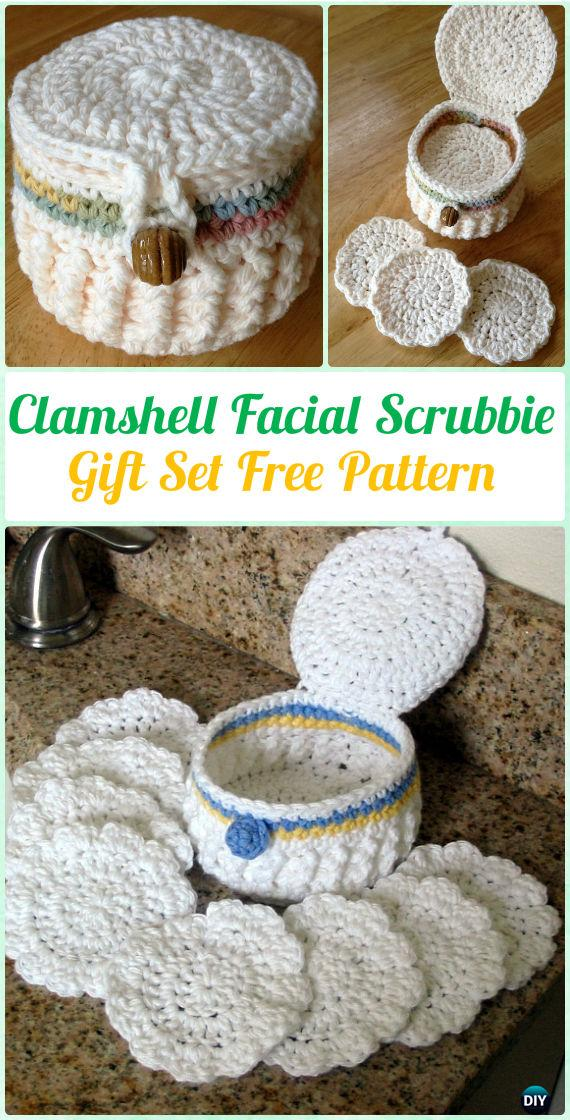 Crochet Clamshell Facial Scrubbie Gift Set Free Pattern Crochet