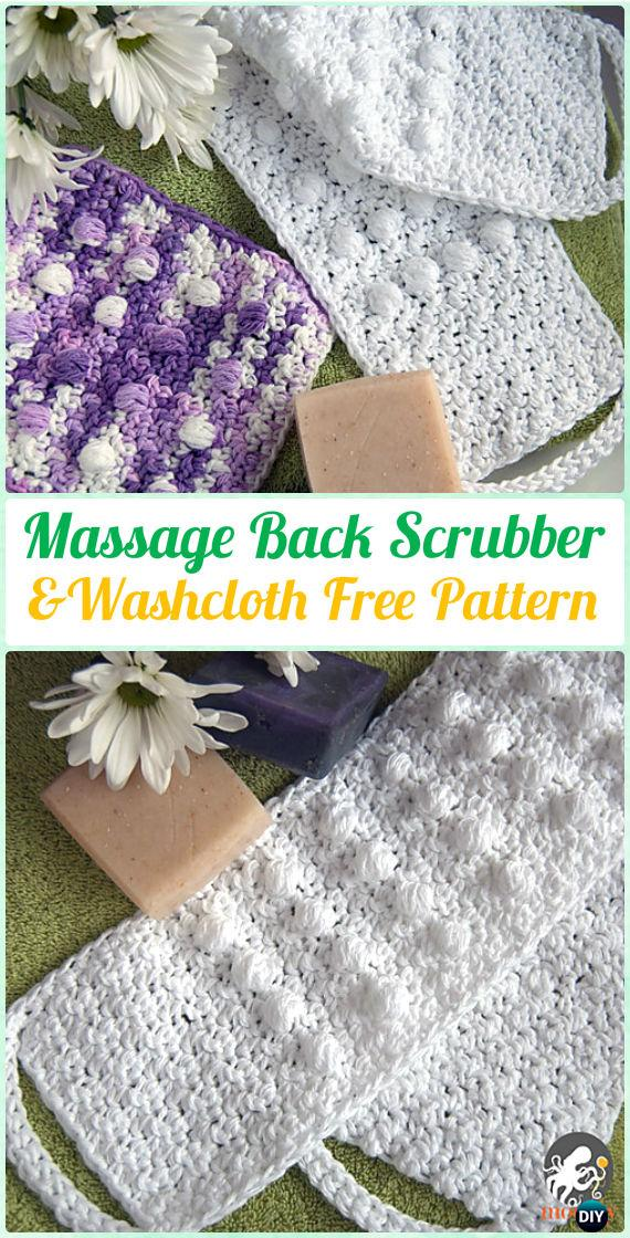 Crochet Pampering Massage Back Scrubber and Washcloth Free Pattern - Crochet Spa Gift Ideas Free Patterns