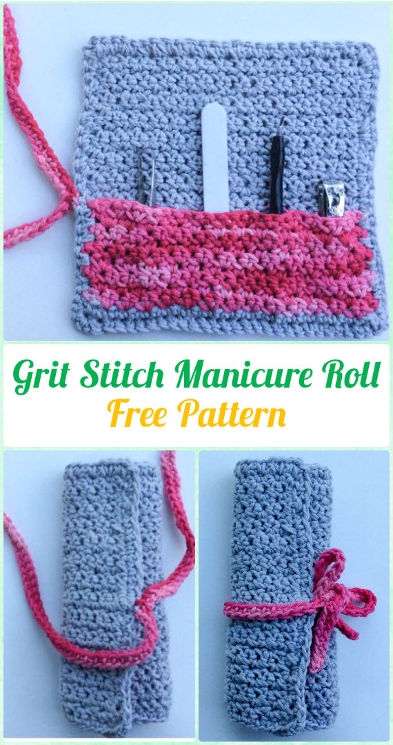 Crochet Grit Stitch Manicure Roll Free Pattern - Crochet Spa Gift Ideas Free Patterns