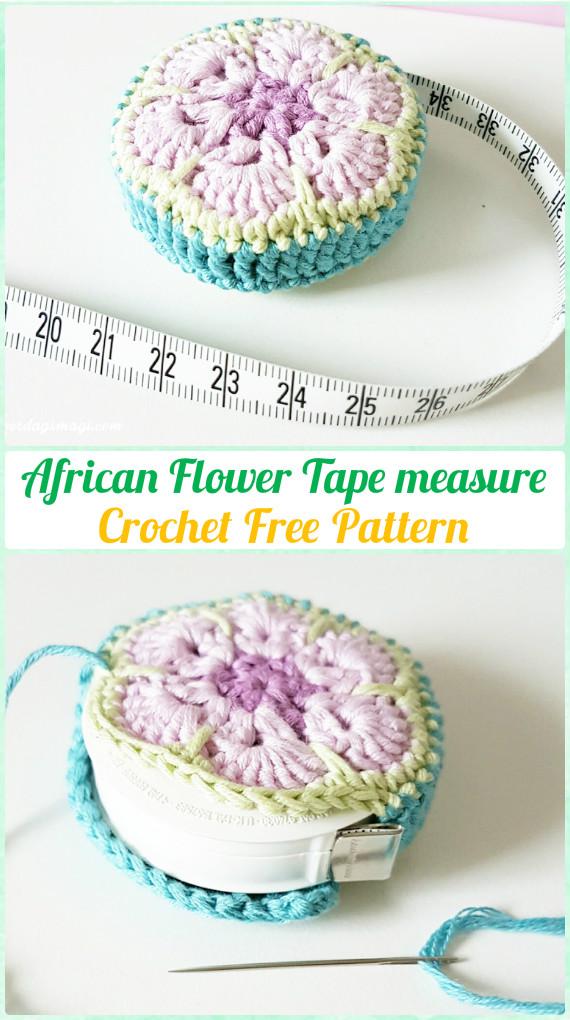 Crochet African Flower Tape Measure Free Pattern - Crochet Spa Gift Ideas Free Patterns
