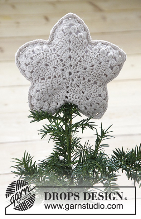 Crochet Lace Christmas Tree Star Topper Free Pattern - Crochet Star Free Patterns