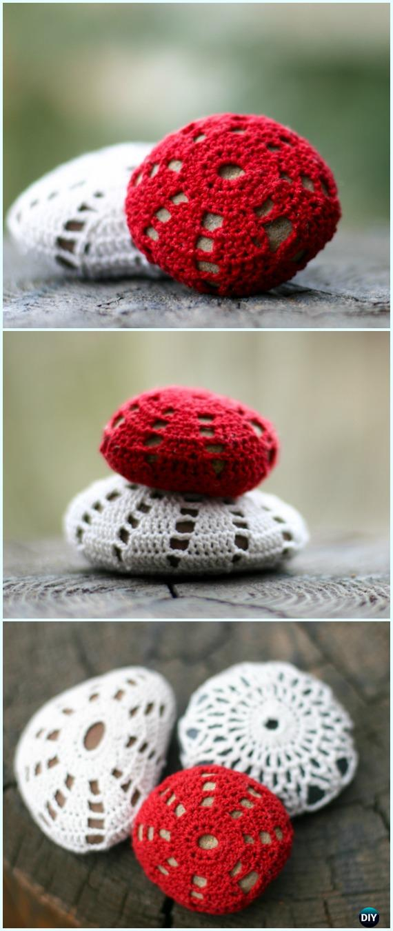 Crochet Covered Sea Stones Free Pattern-#Crochet; Pebble #Stone; Cozy Free Patterns