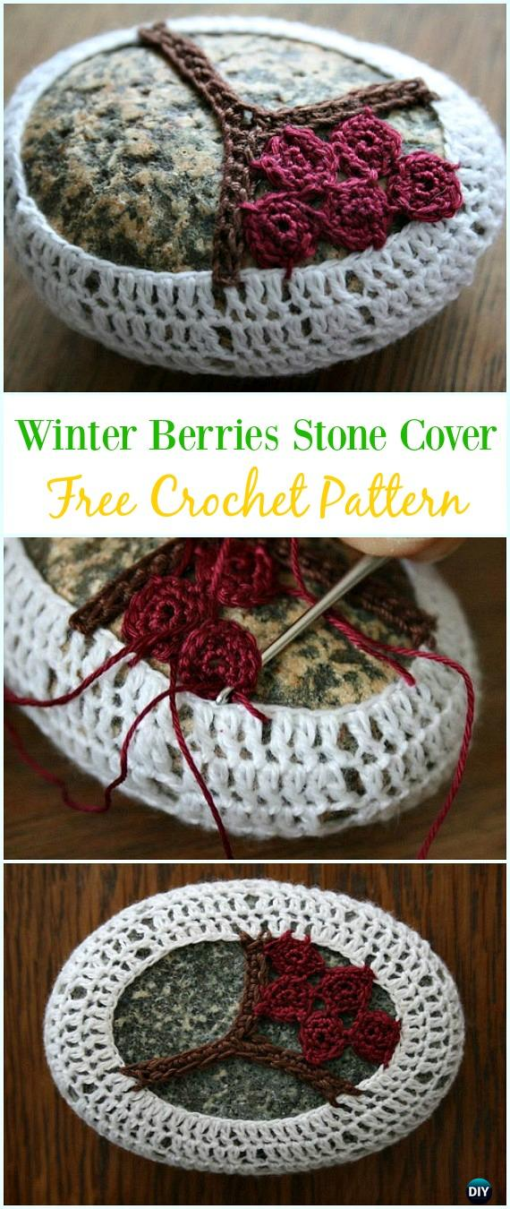 Winter Berries Crochet Covered  Stone Free Pattern-#Crochet; Pebble #Stone; Cozy Free Patterns